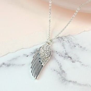 NECKLACE - SILVER PLATED GREY ENAMEL CRYSTAL ANGEL WING NECKLACE 02715