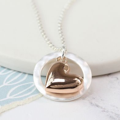 NECKLACE - ROSE GOLD PLATED HEART IN SILVER HOOP NECKLACE 03172