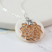 NECKLACE - SILVER PLATED ROSE GOLD PLATED MANDALA PEARL DISC NECKLACE 03161