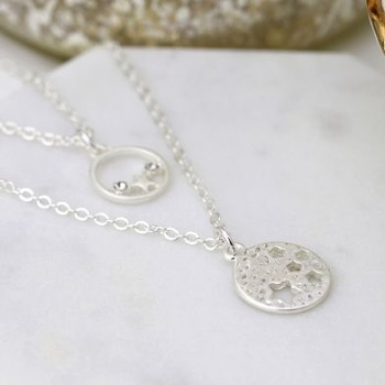 NECKLACE - SILVER PLATED DOUBLE LAYER STAR DISC CRYSTAL NECKLACE 03234