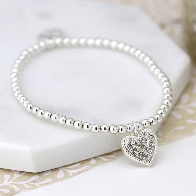 NECKLACE - SILVER PLATED BRACELET WITH CRYSTAL INSET HEART 03223