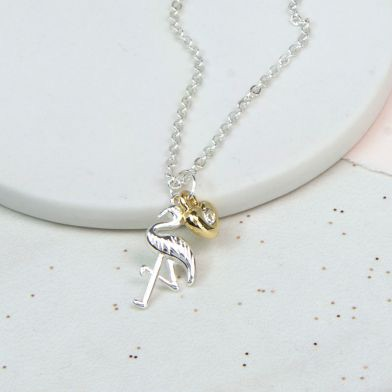 NECKLACE - SILVER PLATED FLAMINGO, GOLD CRYSTAL HEART NECKLACE 02795