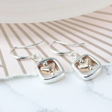 EARRINGS - ROSE GOLD HEART AND SILVER PLATED SQUARE EARRINGS 03084