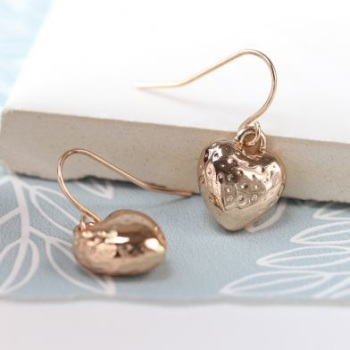 EARRINGS - ROSE GOLD PLATED HAMMERED HEART DROP EARRINGS 03114