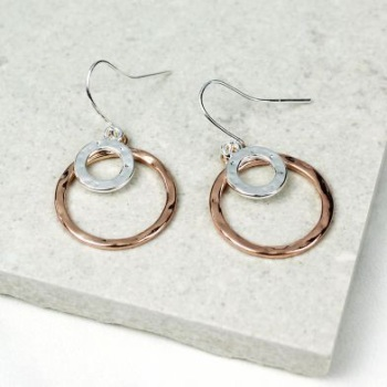 EARRINGS - ROSE GOLD AND SILVER PLATED RINGS DROP EARRINGS 02135