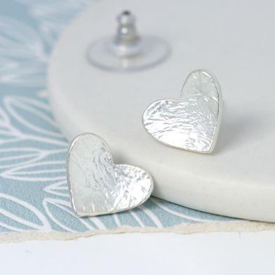 EARRINGS - SILVER PLATED FOIL TEXTURE HEART STUD EARRINGS 02173