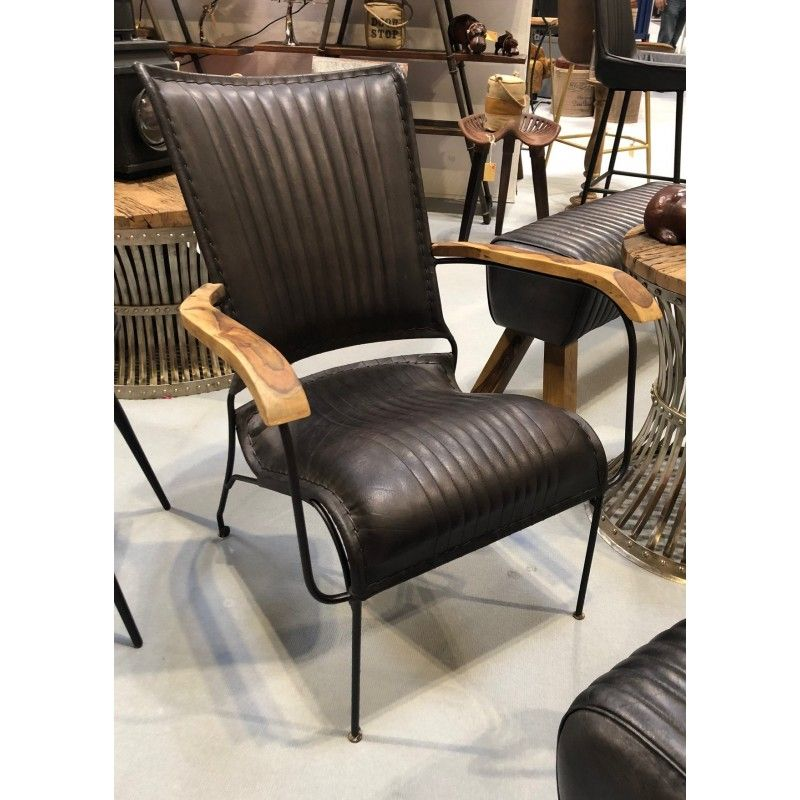 LEATHER CHAIR - Black