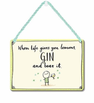 HANGING TIN PLAQUE - GIN AND BEAR IT PA078