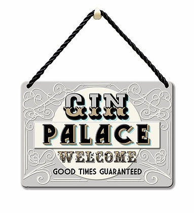 HANGING TIN PLAQUE - GIN PALACE PA083