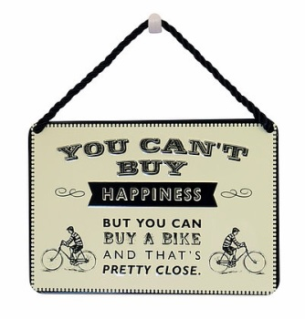 HANGING TIN PLAQUE - HAPPINESS AND A BIKE PA058