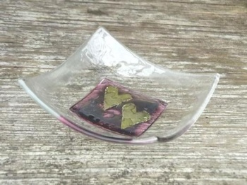 HAND CRAFTED GLASS DISH -  PINK DOUBLE HEART