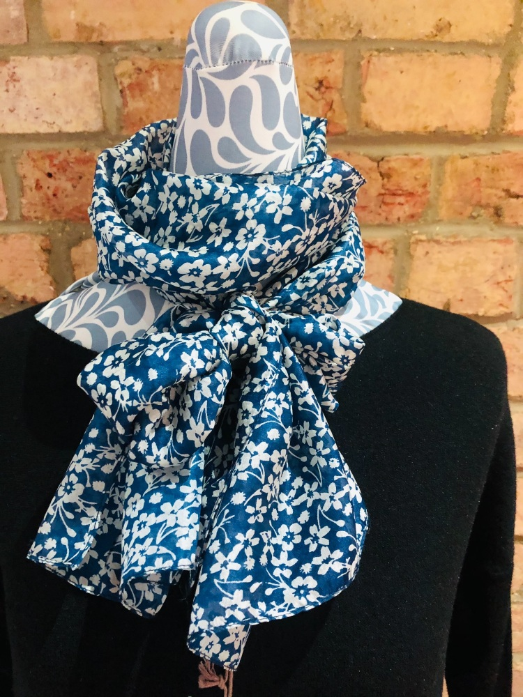 SCARF 100% SILK PETRO BLUE WITH FLORAL PRINT (51424)