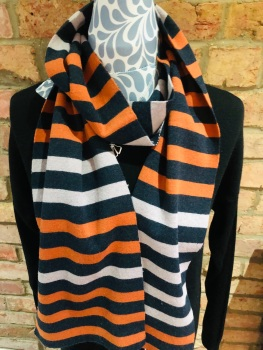 SCARF BY THOUGHT -ORANGE AND GREY WAC4360
