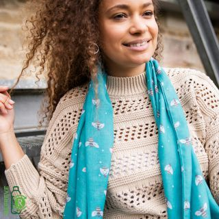 SCARF TURQUOISE BEES (51607)