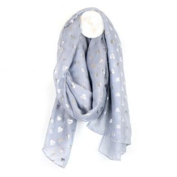 SCARF GREY AND SILVER SCRIBBLE HEART (51539)