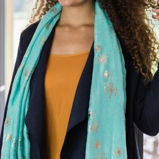 SCARF AQUA GREEN WITH ROSE GOLD SCATTER DANDELION PRINT (51367)