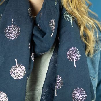 SCARF SLATE WITH ROSE GOLD TREE PRINT (51537)