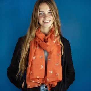 SCARF BURNT ORANGE WITH ROSE GOLD BEE PRINT (51358)