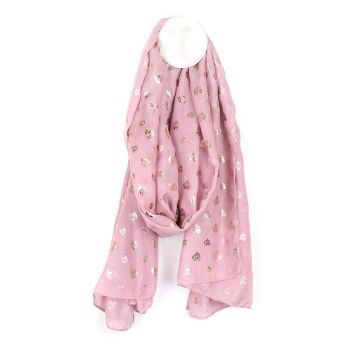 SCARF PINK WITH ROSE HEART SCRIBBLE PRINT (51640)