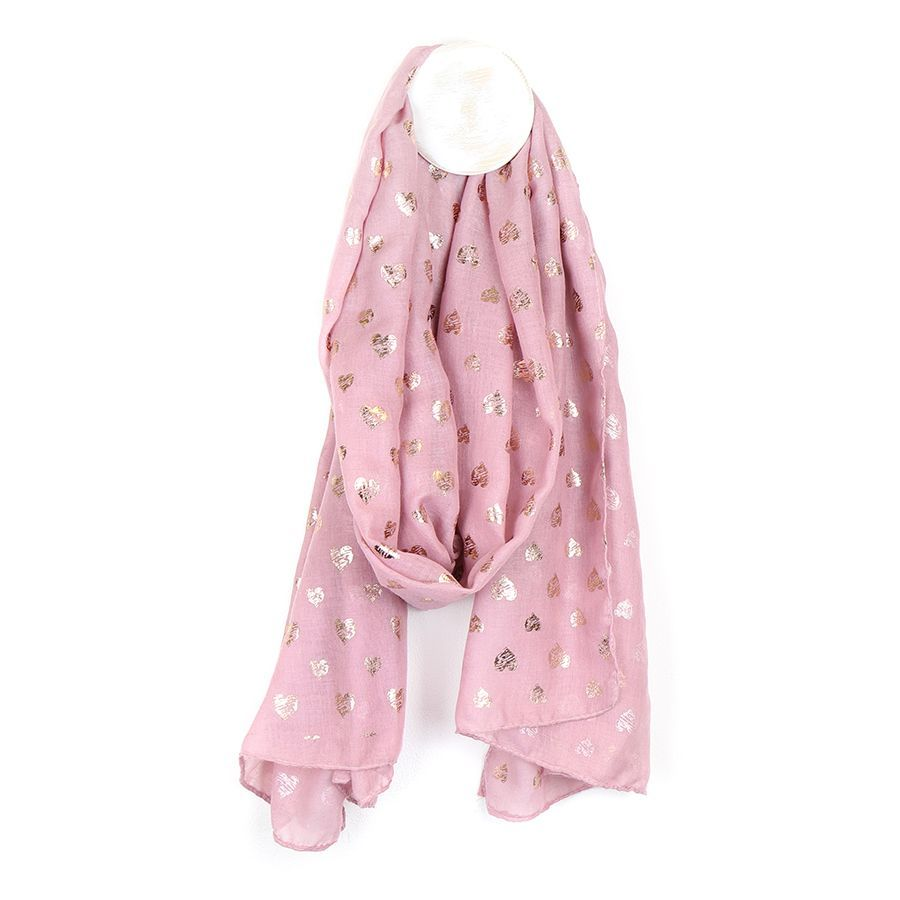 SCARF PINK WITH ROSE HEART SCRIBBLE PRINT (51538)