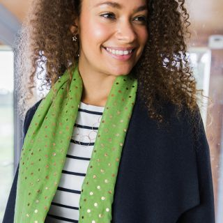 SCARF GREEN WITH ROSE GOLD SPOTS PRINT (51639)