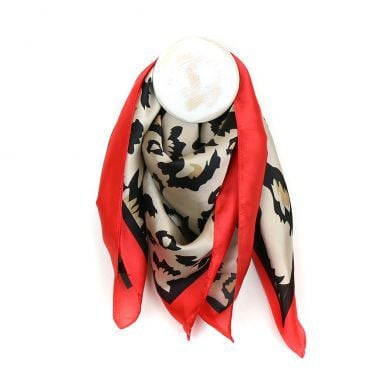 SCARF LEOPARD PRINT SILK FEEL SQUARE SCARF - RED (51339)