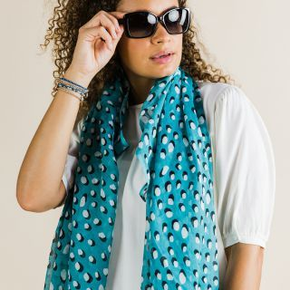 SCARF TEAL WITH WHITE SHADOW DOTS (51623)