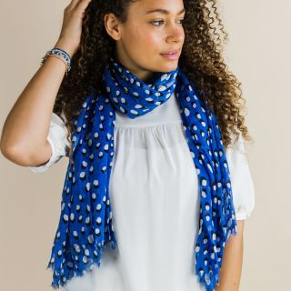 SCARF BLUE WITH WHITE SHADOW DOTS (51622)
