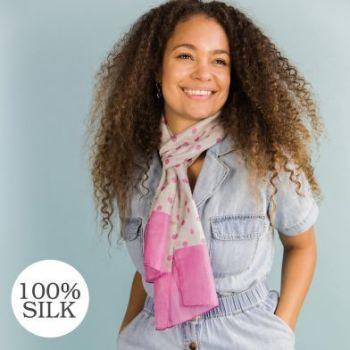 SCARF 100% SILK PINK AND GREY POLKA DOT (51592)