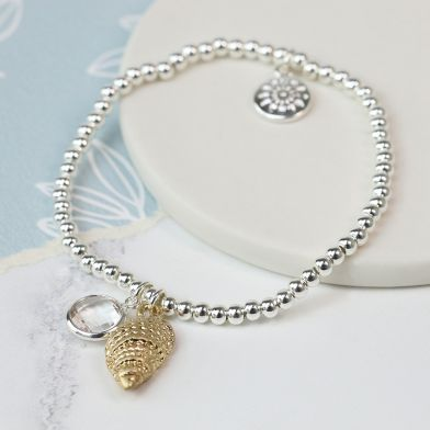 BRACELET - SILVER PLATED WITH GOLD SHELL & CRYSTALS (03141)