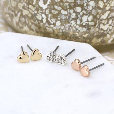 EARRINGS - TRIPLE HEART ROSE GOLD, SILVER & CRYSTAL SET 03226