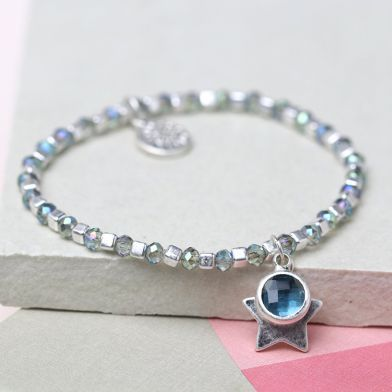 BRACELET - SILVER CUBE BEAD & BLUE CRYSTAL WITH STAR 03264