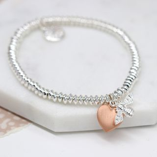 BRACELET - SILVER PLATED FINE BEAD WITH ROSE GOLD HEART & BEE 03271