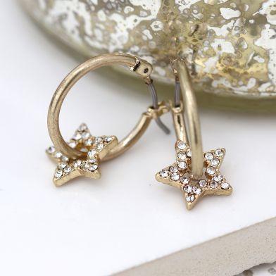 EARRINGS - WORN GOLD HOOP & CRYSTAL INSET STAR 03291