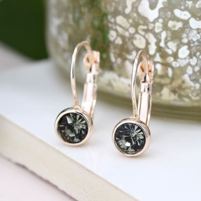 EARRINGS - ROSE GOLD PLATED & SMOKEY CRYSTAL DROP 03300