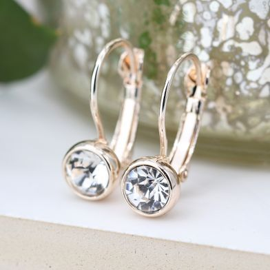 EARRINGS - ROSE GOLD PLATED & CLEAR CRYSTAL DROP 03301