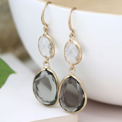 EARRINGS - GOLD PLATED SMOKEY  & CLEAR CRYSTAL DROP 03304