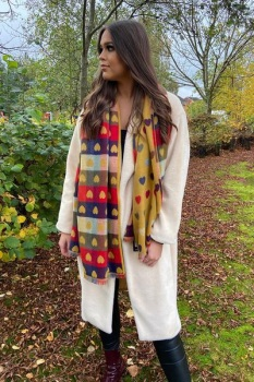 YELLOW HEARTS - CASHMERE BLEND SCARF/WRAP