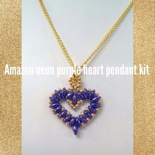 Amazon neon purple heart pendant kit