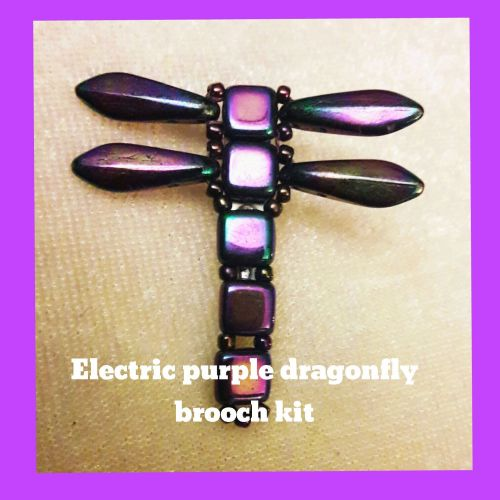 Electric purple dragonfly brooch kit