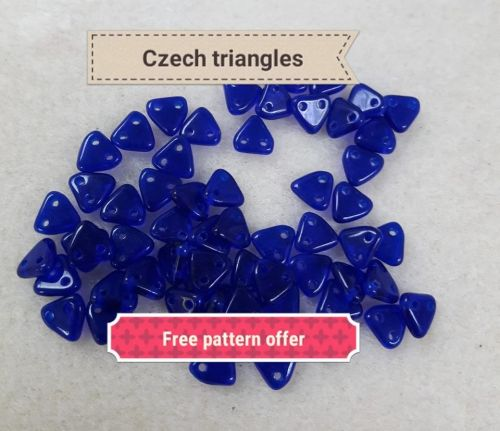 Czech Triangle beads cobalt blue 7g