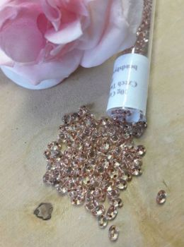 Czech twin beads 10g Crystal Copper Lined
