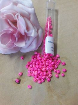 Czech twin beads 10g Op Neon Pink