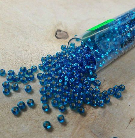 Aqua Silver lined size 10 seed beads 25g