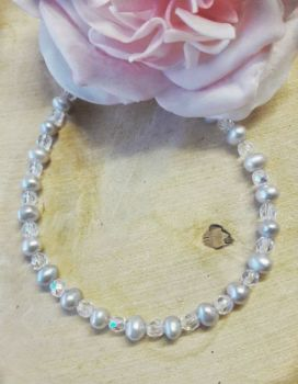 Freshwater Pearls Silver Grey with Crystals