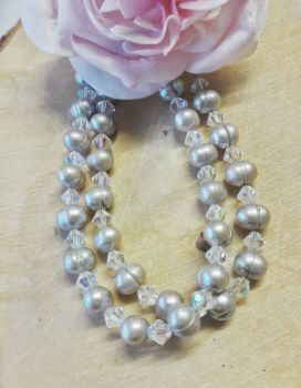 Freshwater Pearls Silver Grey with Ab Crystals