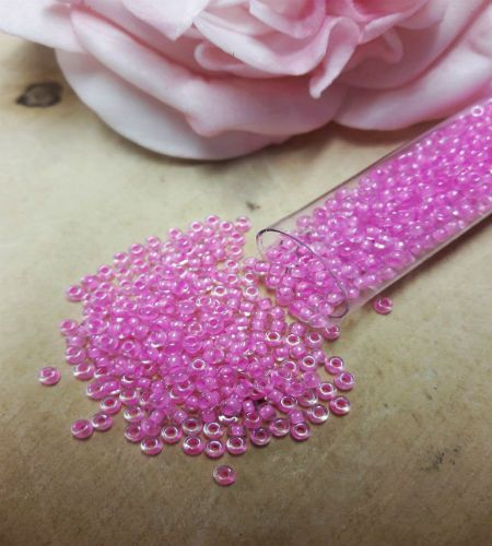 Pink Lined size 10 seed beads 10g