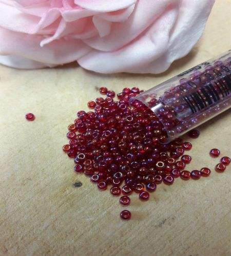 Red Ab size 10 seed beads 8g