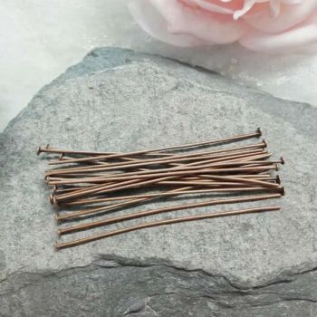 20 Red Copper Headpins