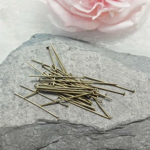 <!002-->40 Short Bronze Headpins
